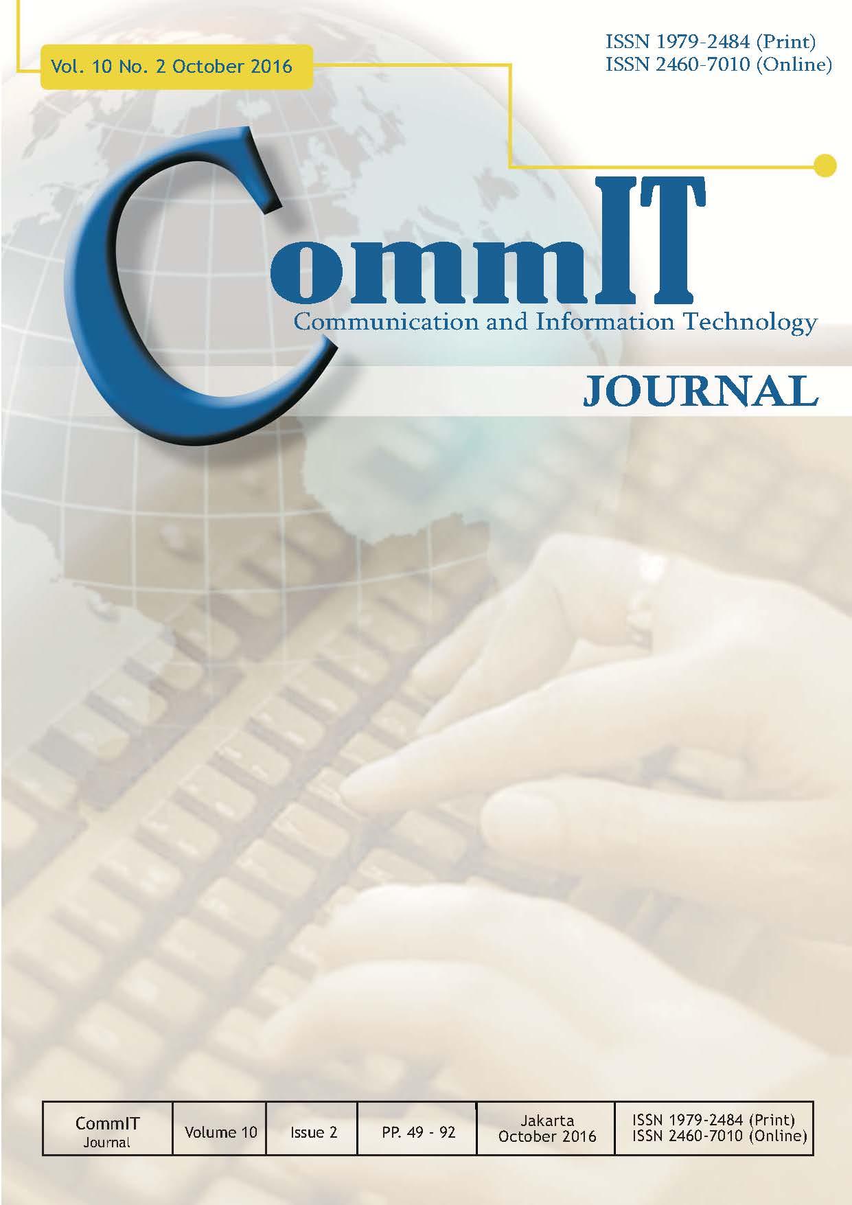 View Vol. 10 No. 2 (2016): CommIT Journal