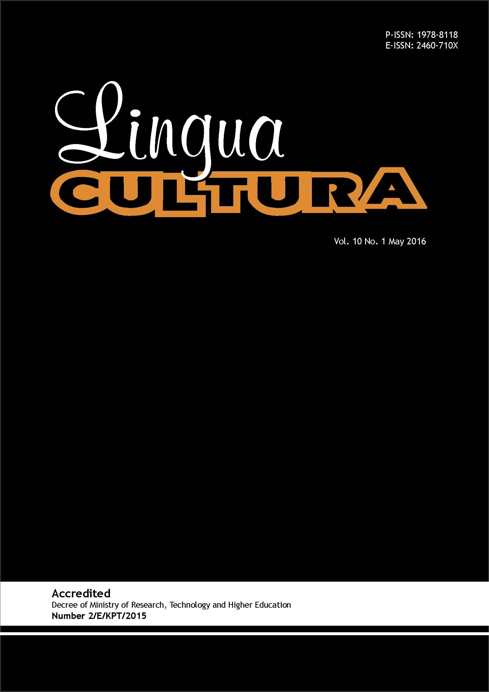 View Vol. 10 No. 1 (2016): Lingua Cultura Vol. 10 No. 1