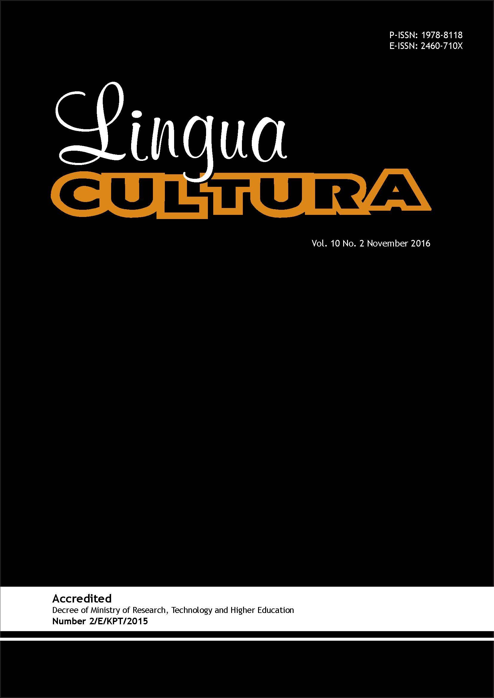 View Vol. 10 No. 2 (2016): Lingua Cultura Vol. 10 No. 2