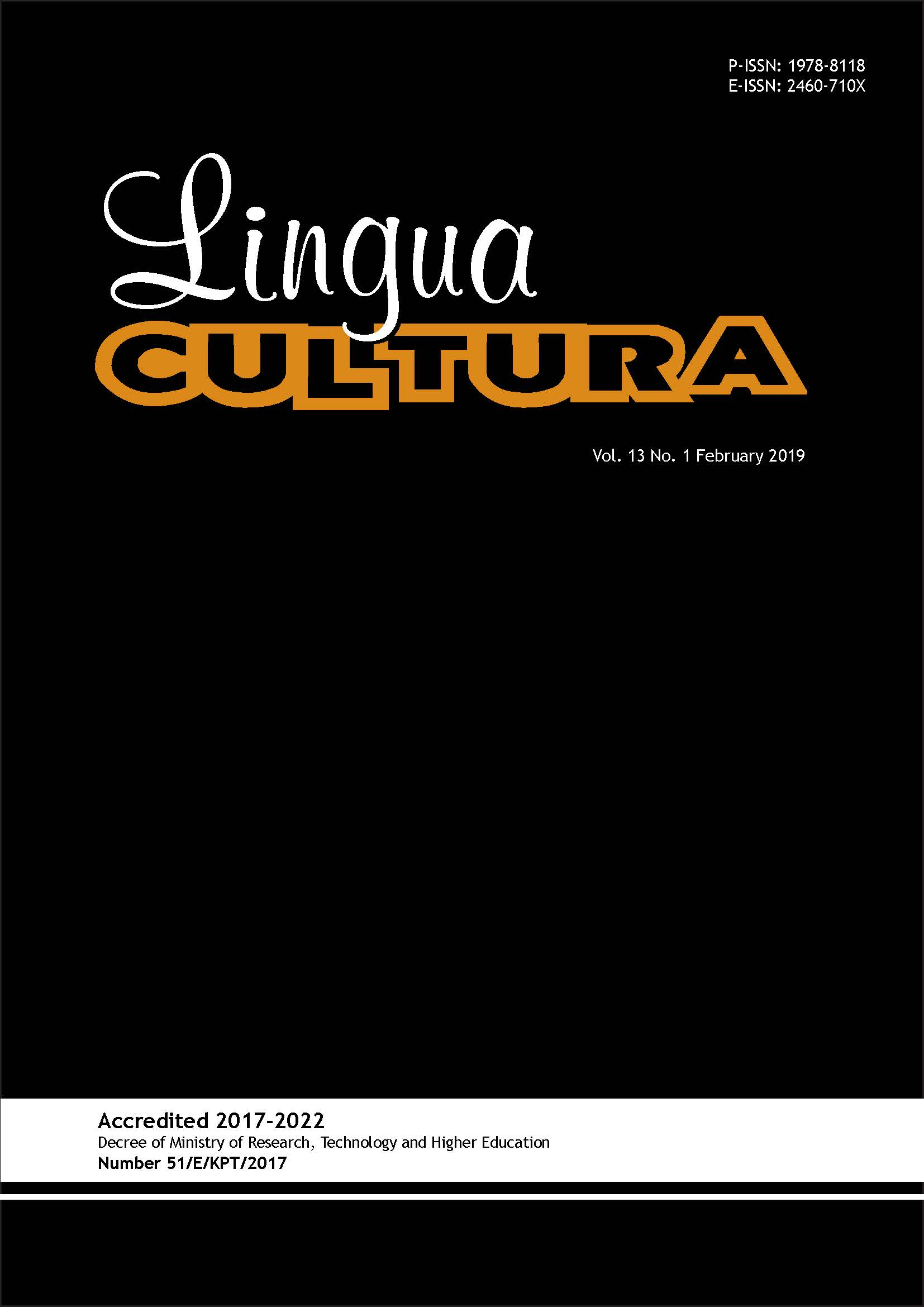 View Vol. 13 No. 1 (2019): Lingua Cultura