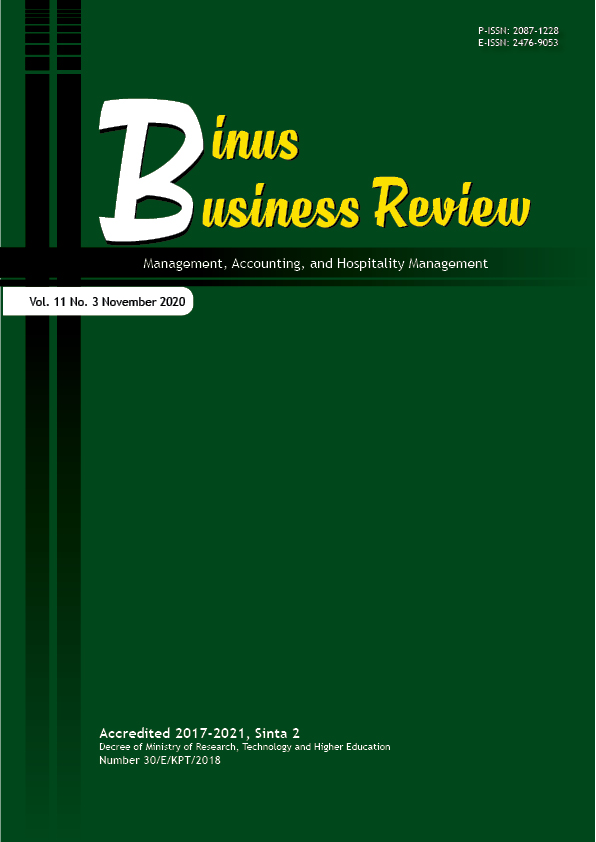 View Vol. 11 No. 3 (2020): Binus Business Review (in press)