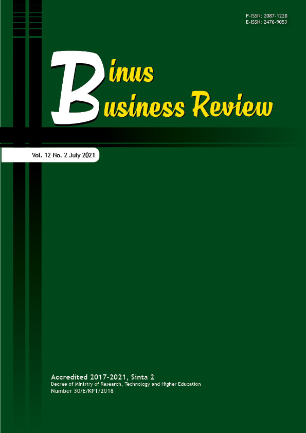 View Vol. 12 No. 2 (2021): Binus Business Review (In Press)